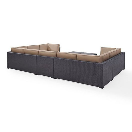 Crosley  Biscayne Mist 7-Piece Wicker Set with Four Loveseats One Armless Chair and Two Coffee Tables