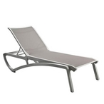 Chaise Lounge Solid Gray Sling on Platinum Gray Frame - 904382