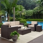 Palm Harbor 5-Piece Wicker Set and Sand Cushions with Sofa, Two Armchairs, Side Table and Coffee Table