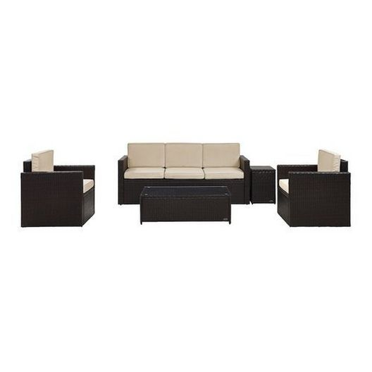 Crosley - Palm Harbor 5-Piece Wicker Set and Gray Cushions with Sofa, Two Armchairs, Side Table and Coffee Table - 452267