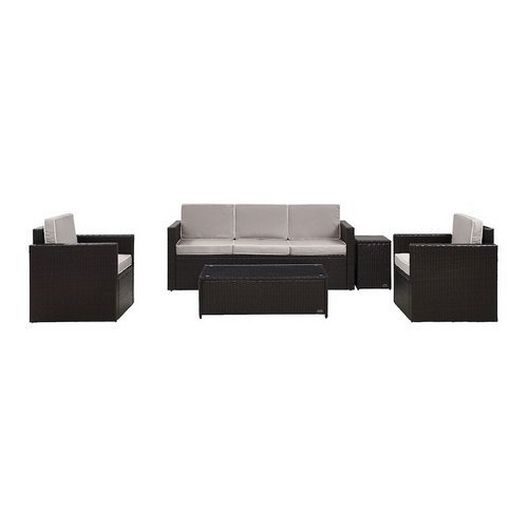 Crosley - Palm Harbor 5-Piece Wicker Set and Sand Cushions with Sofa, Two Armchairs, Side Table and Coffee Table - 452269