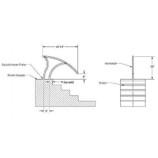 Inter-Fab  Designer Series Deck Top Mounted Deck to Deck Return Stair Rail Flanged