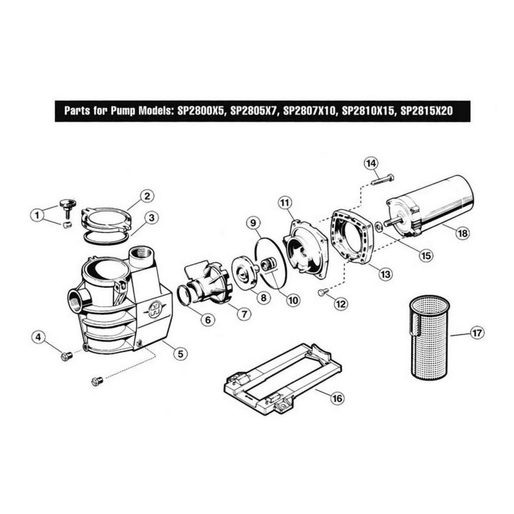 Max-Flo Series SP2800X Max-Rated Pool Pump Parts image