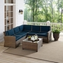 Bradenton 4-Piece Wicker Sectional Set with Sand Cushion Two Loveseats, One Corner Chair and Glass Top Table