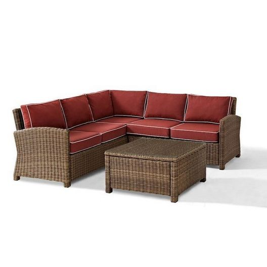 Crosley - Bradenton 4-Piece Wicker Sectional Set with Sand Cushion Two Loveseats, One Corner Chair and Glass Top Table - 452168