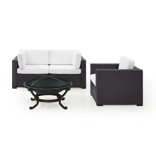 Crosley - Biscayne 4 Piece Wicker Set with Mocha Cushions - 452082