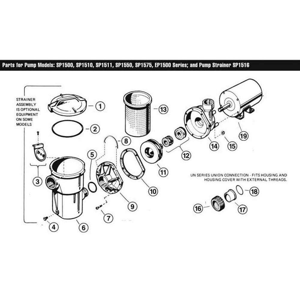 Power-Flo Series SP1500 Above Ground Pool Pump Parts image