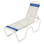 Commercial Vinyl Strap Chaise Lounge Set of 4