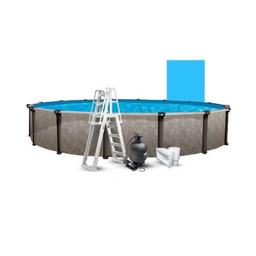 """24' Round Above Ground Pool with 52"""" Wall, Skimmer, Blue Liner, Pump/Filter Combo, and A-Frame Ladder"""