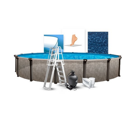 """24' Round Above Ground Pool with 52"""" Wall, Skimmer, All Swirl Liner, Pump/Filter Combo, A-Frame Ladder, Liner Pad, and Coving Kit"""