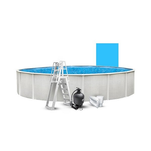 """12' Round Above Ground Pool with 52"""" Wall, Skimmer, Blue Liner, Pump/Filter Combo, and A-Frame Ladder"""