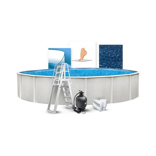 """12' Round Above Ground Pool with 52"""" Wall, Skimmer, Blue Liner, Pump/Filter Combo, A-Frame Ladder, Liner Pad, and Coving Kit"""
