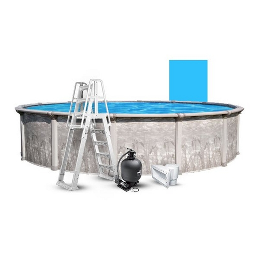 """24' Round Above Ground Pool With 52"""" Wall, Blue Liner, Pump/Filter Combo, A-Frame Ladder"""