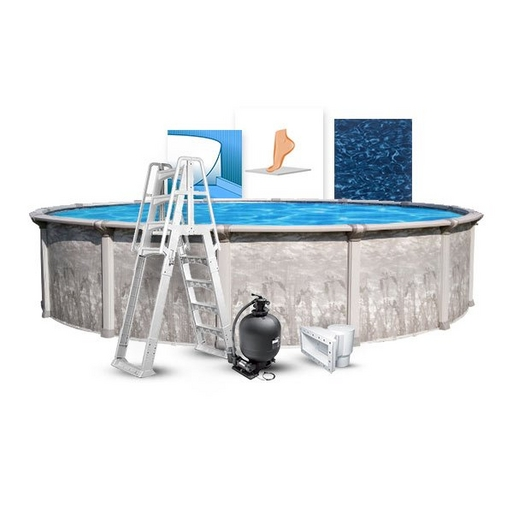 """24' Round Above Ground Pool With 52"""" Wall, All Swirl Liner, Pump/Filter Combo, A-Frame Ladder, Coving Kit, and Liner Pad"""