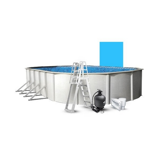 """18' x 33' Oval Above Ground Pool with 52"""" Wall, Blue Liner, Pump/Filter Combo, A-Frame Ladder"""