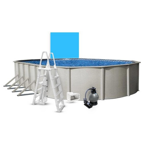 """Reprieve Basic Kit 15 x 30 Oval 48"""" Above Ground Pool with Liner, Filter System, Ladder - B-268741"""