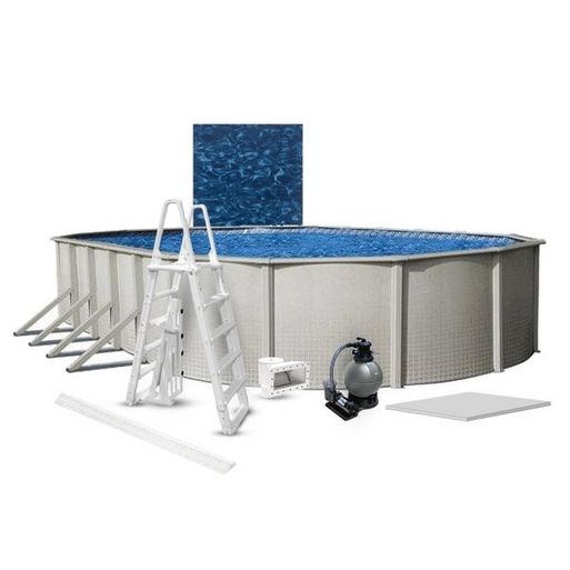 """Reprieve Premium Kit 15 x 30 Oval 48"""" Above Ground Pool with Liner, Filter System, Ladder, Coving Kit, Liner Pad - B-268743"""