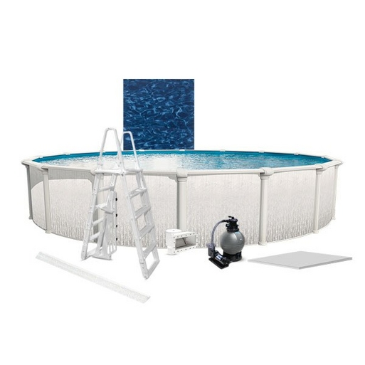 "Heritage Premium Kit 24' Round 52"" Above Ground Pool with Liner, Filter System, Ladder, Coving Kit, Liner Pad"