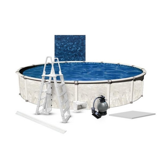 """Venture Premium Kit 27' Round 54"""" Above Ground Pool with Liner, Filter System, Ladder, Coving Kit, Liner Pad - B-268902"""