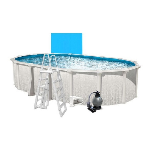 """Heritage Basic Kit 18 x 33 Oval 54"""" Above Ground Pool with Liner, Filter System, Ladder - B-268934"""