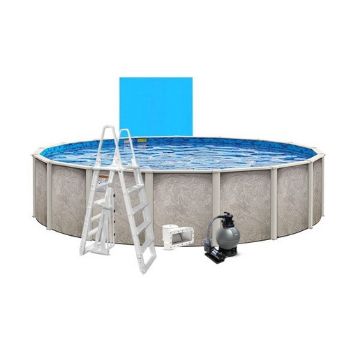 """Verona Basic Kit 24' Round 54"""" Above Ground Pool with Liner, Filter System, Ladder"""