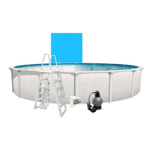 """Heritage Basic Kit 18' Round 52"""" Above Ground Pool with Liner, Filter System, Ladder"""