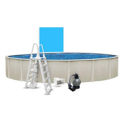 """Reprieve Basic Kit 24' Round 48"""" Above Ground Pool with Liner, Filter System, Ladder"""