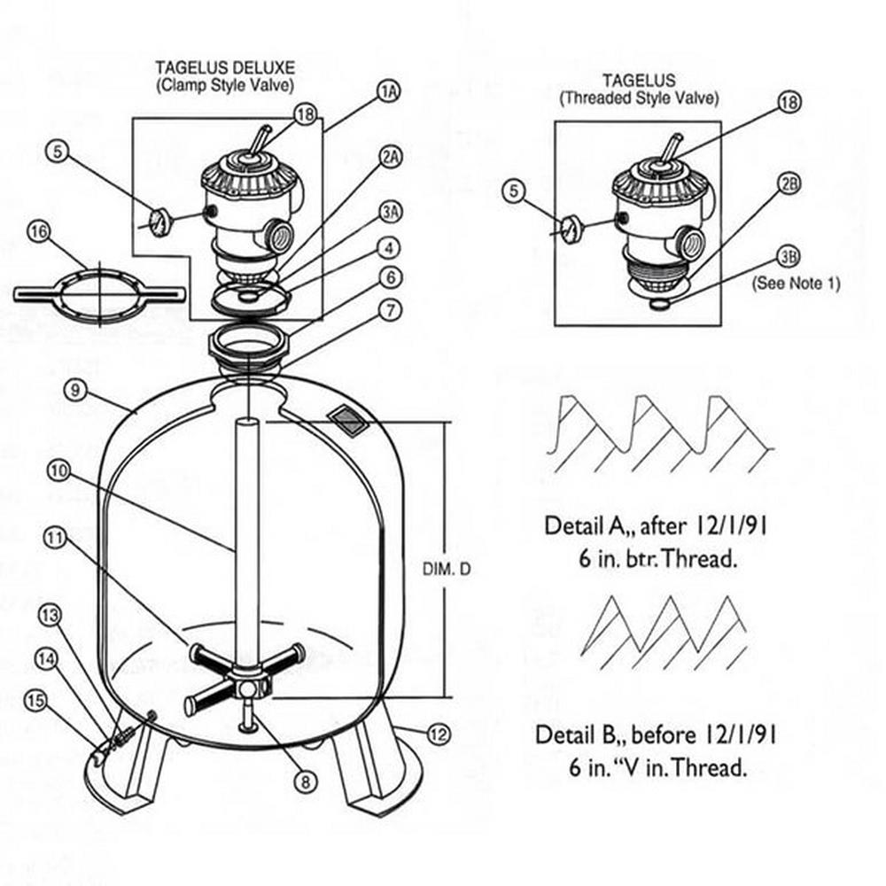 (Tagelus) Pac Fab TA30 / TA40 / TA50 / TA60 Sand Filter Parts image