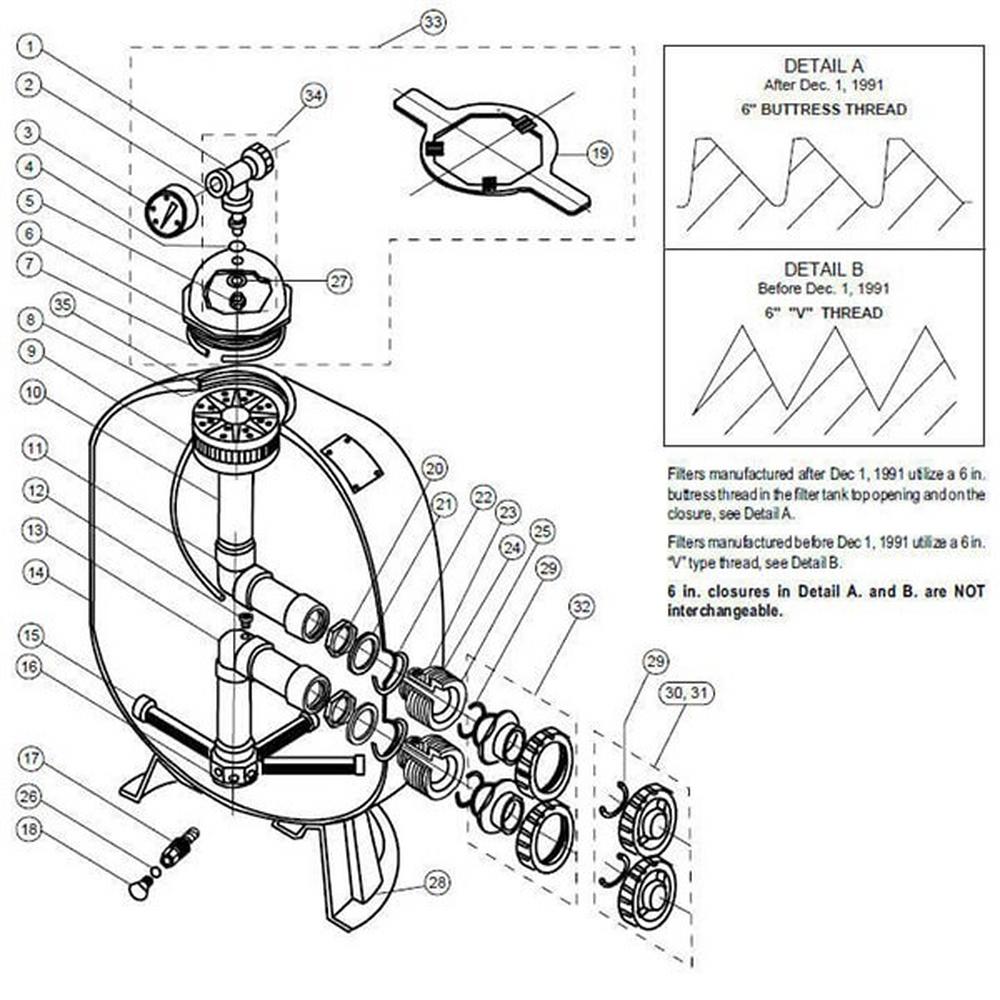 (Triton II) TR40 / TR50 / TR60 / TR100 / TR140 Sand Filter Parts image