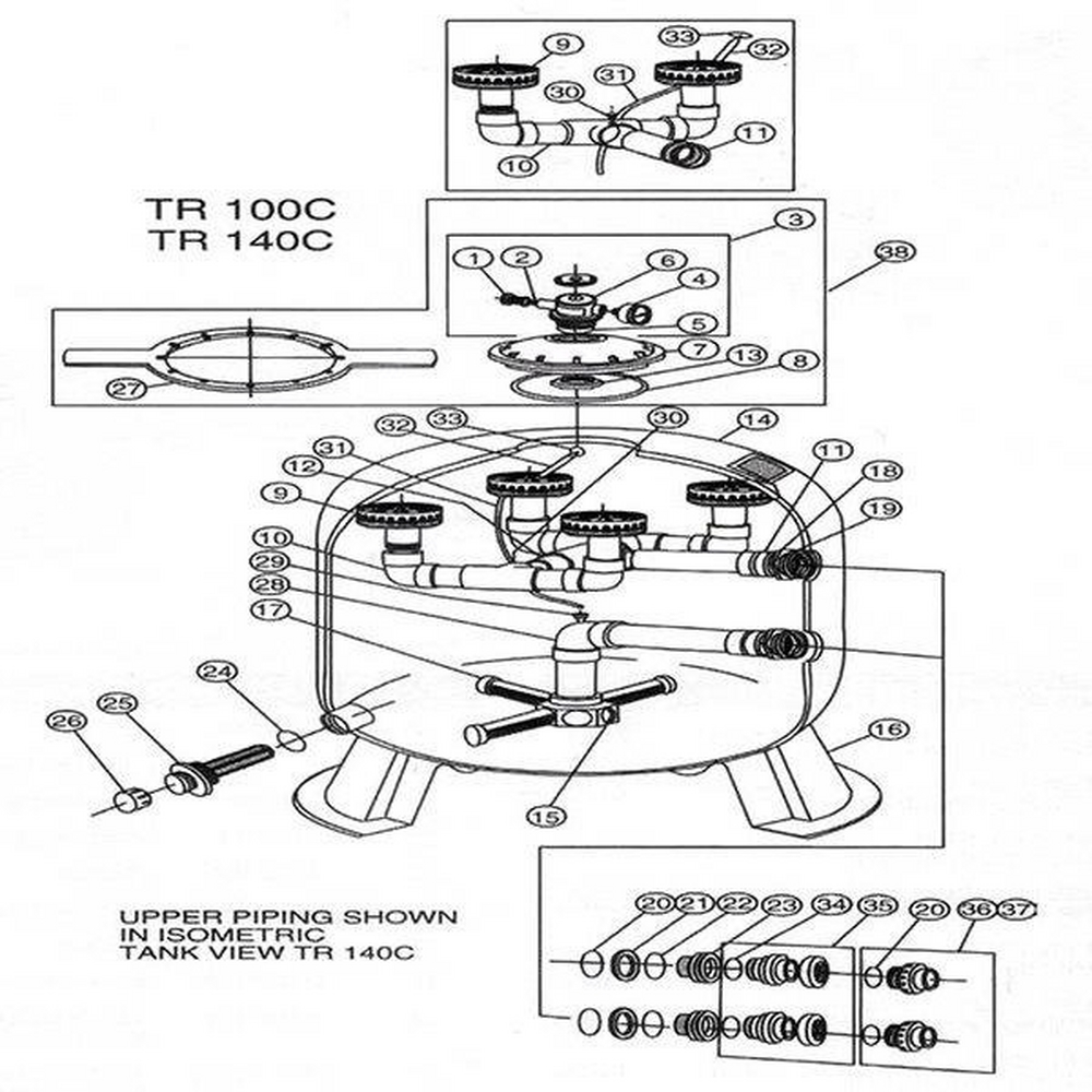 (Triton Commercial) Purex TR100C / TR140C Sand Filter Parts image