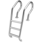 Inter-Fab - 3-Step Modified Camelback Style Ladder with White High Impact Plastic Tread - 311769