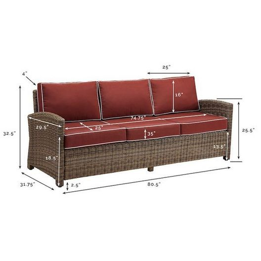 Crosley - Bradenton Wicker Sofa with Sand Cushions - 452211