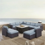Biscayne 8 Person Wicker Set with White Cushions