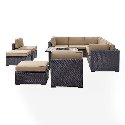 Crosley - Biscayne 8 Person Wicker Set with White Cushions - 452071