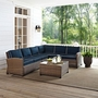 Bradenton 5-Piece Navy Cushion Sectional Wicker Seat Set with Two Loveseats, One Center Chair, One Corner Chair, and One Glass Top Coffee Table