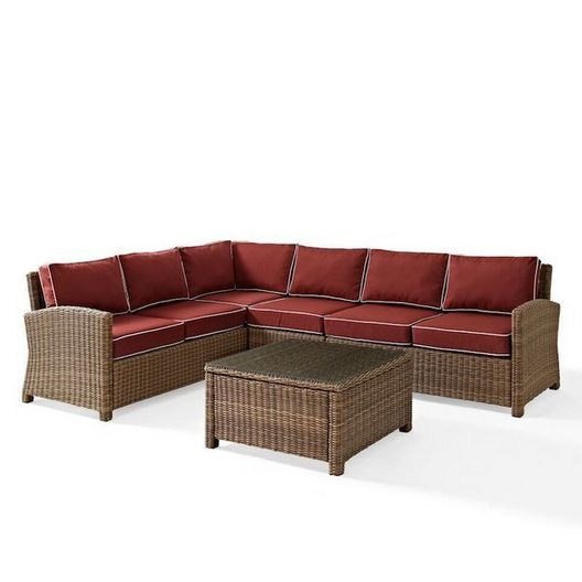 Crosley  Bradenton 5-Piece Navy Cushion Sectional Wicker Seat Set with Two Loveseats One Center Chair One Corner Chair and One Glass Top Coffee Table