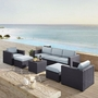 Biscayne Mocha 7-Piece Wicker Set with One Loveseat, Two Arm Chairs, One Corner Chair, Coffee Table and Two Ottomans