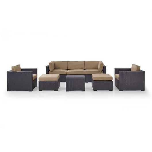 Crosley - Biscayne Mocha 7-Piece Wicker Set with One Loveseat, Two Arm Chairs, One Corner Chair, Coffee Table and Two Ottomans - 452109