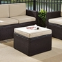 Palm Harbor Wicker Ottoman with Gray Cushion