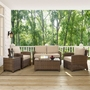 Bradenton 5-Piece Wicker Conversation Set and Sangria Cushions with One Loveseat, Two Arm Chairs, Side Table and Coffee Table