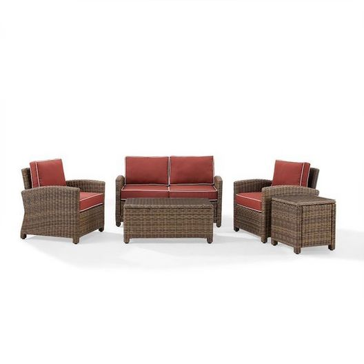 Crosley - Bradenton 5-Piece Wicker Conversation Set and Sangria Cushions with One Loveseat, Two Arm Chairs, Side Table and Coffee Table - 452172