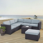 Biscayne Mocha 5-Piece Wicker Set with Two Loveseats, One Corner Chair, Coffee Table and Ottoman