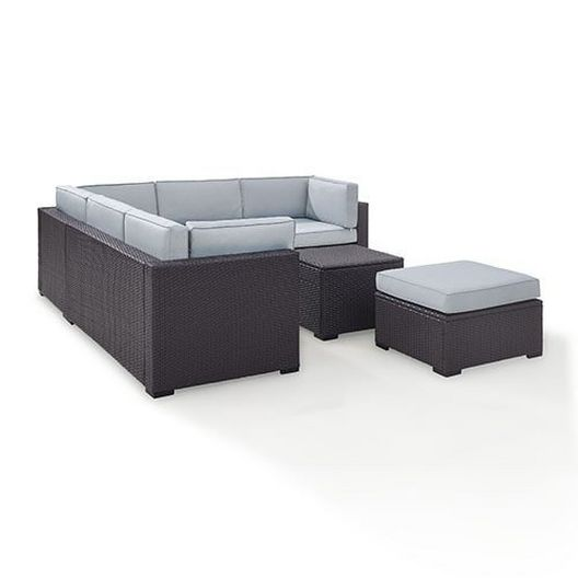 Crosley  Biscayne Mist 5-Piece Wicker Set with Two Loveseats One Corner Chair Coffee Table and Ottoman