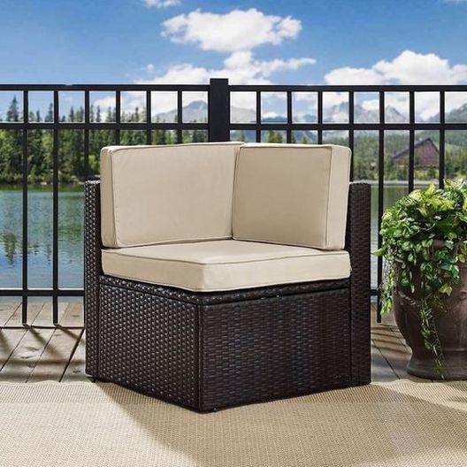 Crosley - Palm Harbor Wicker Corner Chair with Gray Cushions - 452295