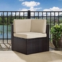 Palm Harbor Wicker Corner Chair with Gray Cushions