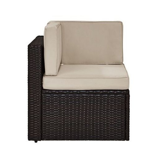 Crosley - Palm Harbor Wicker Corner Chair with Sand Cushions - 452296