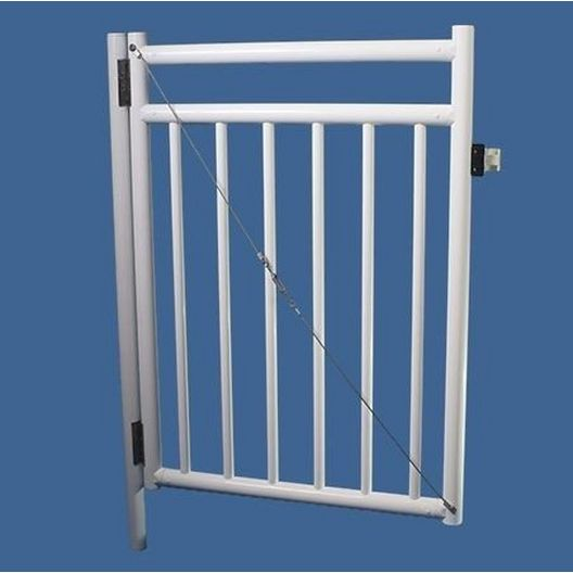 "Saftron - 48"" x 36"" Self Closing Gate with 54"" Plunger Latch, Black - 367022"