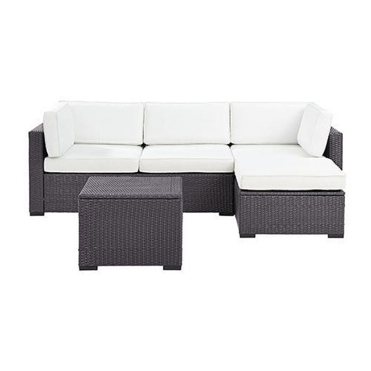 Crosley - Biscayne White 4 Piece Wicker Set with Loveseat, Corner Chair, Ottoman and Coffee Table - 452096