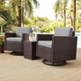 Palm Harbor 3-Piece Set and Gray Cushions with Two Armchairs and Side Table