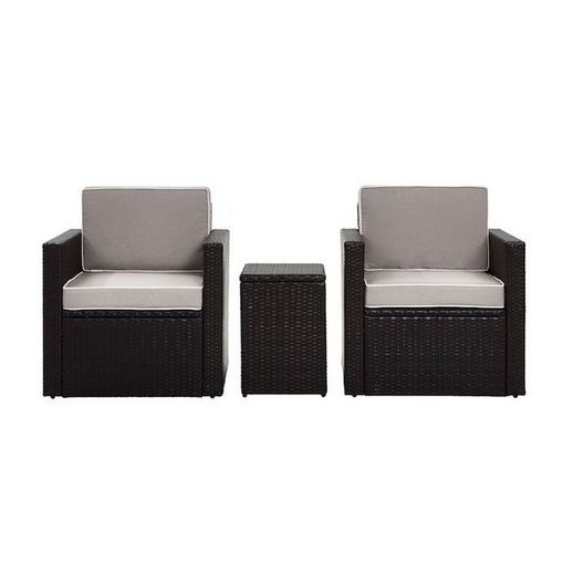 Crosley - Palm Harbor 3-Piece Set and Gray Cushions with Two Armchairs and Side Table - 452252